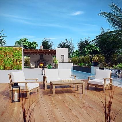 Modway Marina Teak Wood 4 Piece Outdoor Patio Furniture Set In Natural White