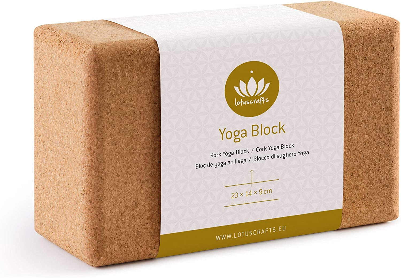 Lotuscrafts Yoga Block Cork Supra Grip - Natural Cork from Portugal - Cork Yoga Brick Non-Slip - Ecologically Manufactured - Essential Yoga Equipment ...