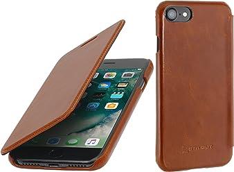"""StilGut Book Type Case, Custodia in Pelle Cover per iPhone 7 & iPhone 8 (4,7""""). Chiusura a Libro Flip-Case in Vera Pelle, Cognac"""