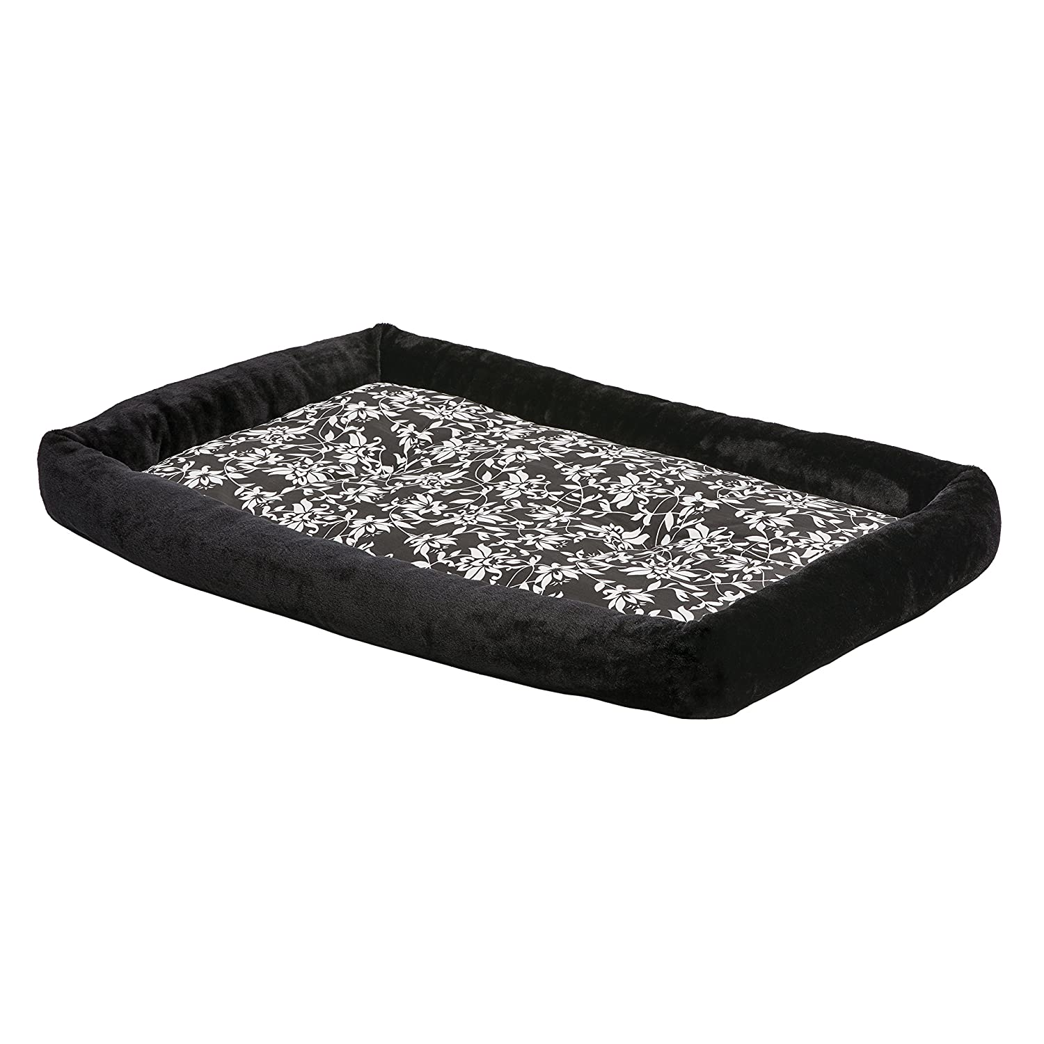 Black 48\ Black 48\ Midwest Homes for Pets 40248-BKF Couture Sofia Bolster Dog Bed in Black & White Floral Pattern, Black