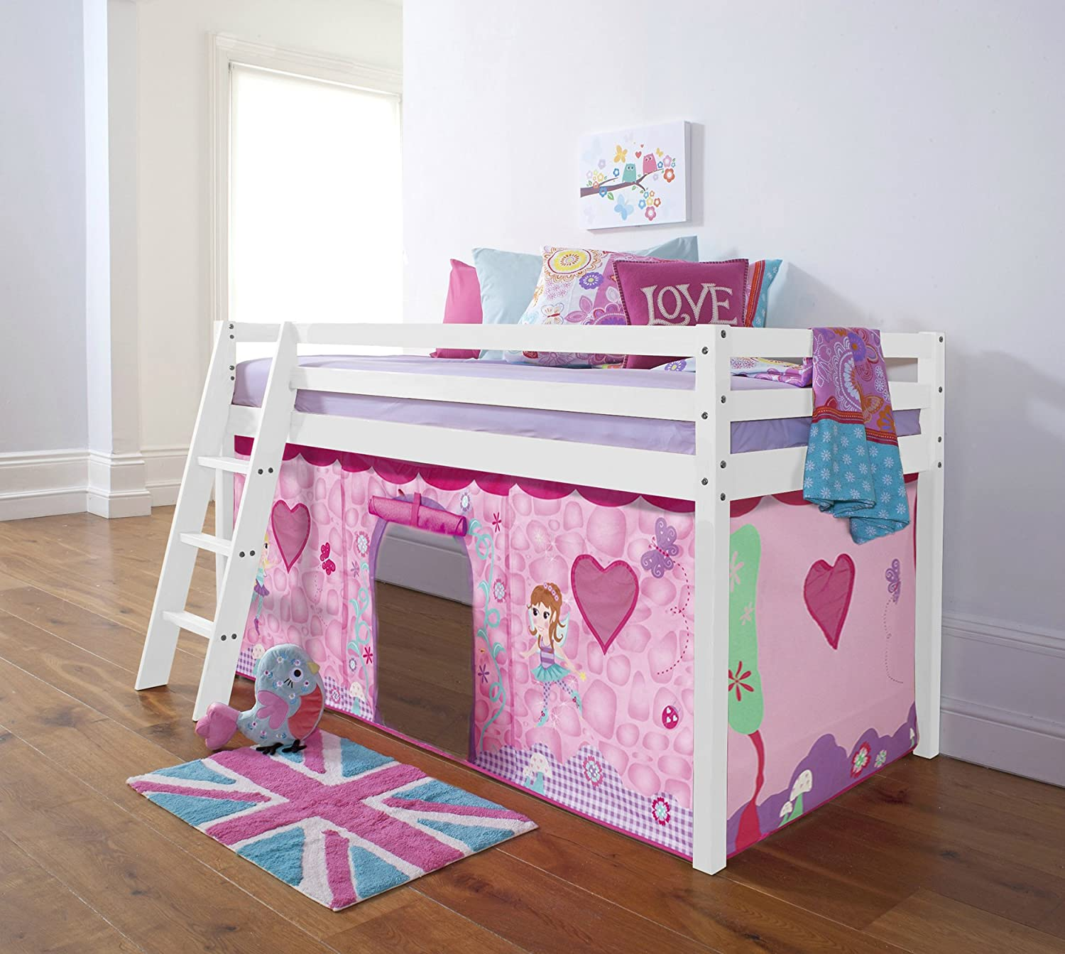 Cabin Bed with Fairies Tent in White with Tent (578WG-FAIRIES) Noa & Nani