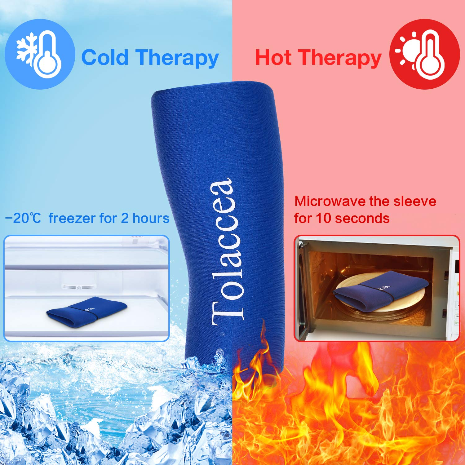 Tolaccea Hot & Cold Therapy Flexible Ice Packs Cold Thereapy Compression Sleeve Reusable Gel Pack for Injury Cold Wrap for Knee Calf Ankle Elbow (L)