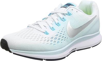 Nike Air Zoom Pegasus 34 - Zapatillas de running para mujer (6,5 B (M),  color blanco y plateado metálico)