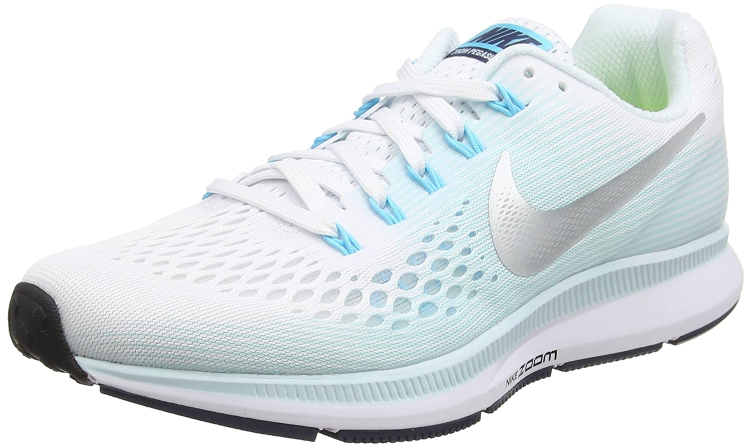NIKE Women's Air Zoom Pegasus 34 Running Shoe B00EKWBD2S 7.5 B(M) US|White/Metallic Silver-glacier Blue