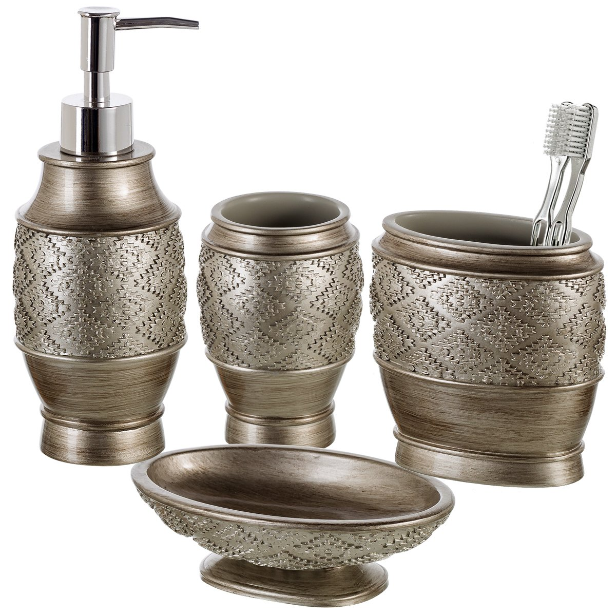 Dublin 4-Piece Bathroom Accessories Set - Includes Decorative Countertop Soap Dispenser, Dish, Tumbler, Toothbrush Holder, Resin Vanity Ensemble Set, Gift Boxed (Brushed Silver)