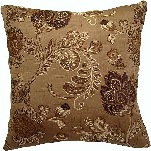 ReynosoHomeDecor 26×26 Shades of Brown Floral Brocade Decorative Throw Pillow Tronco Collection