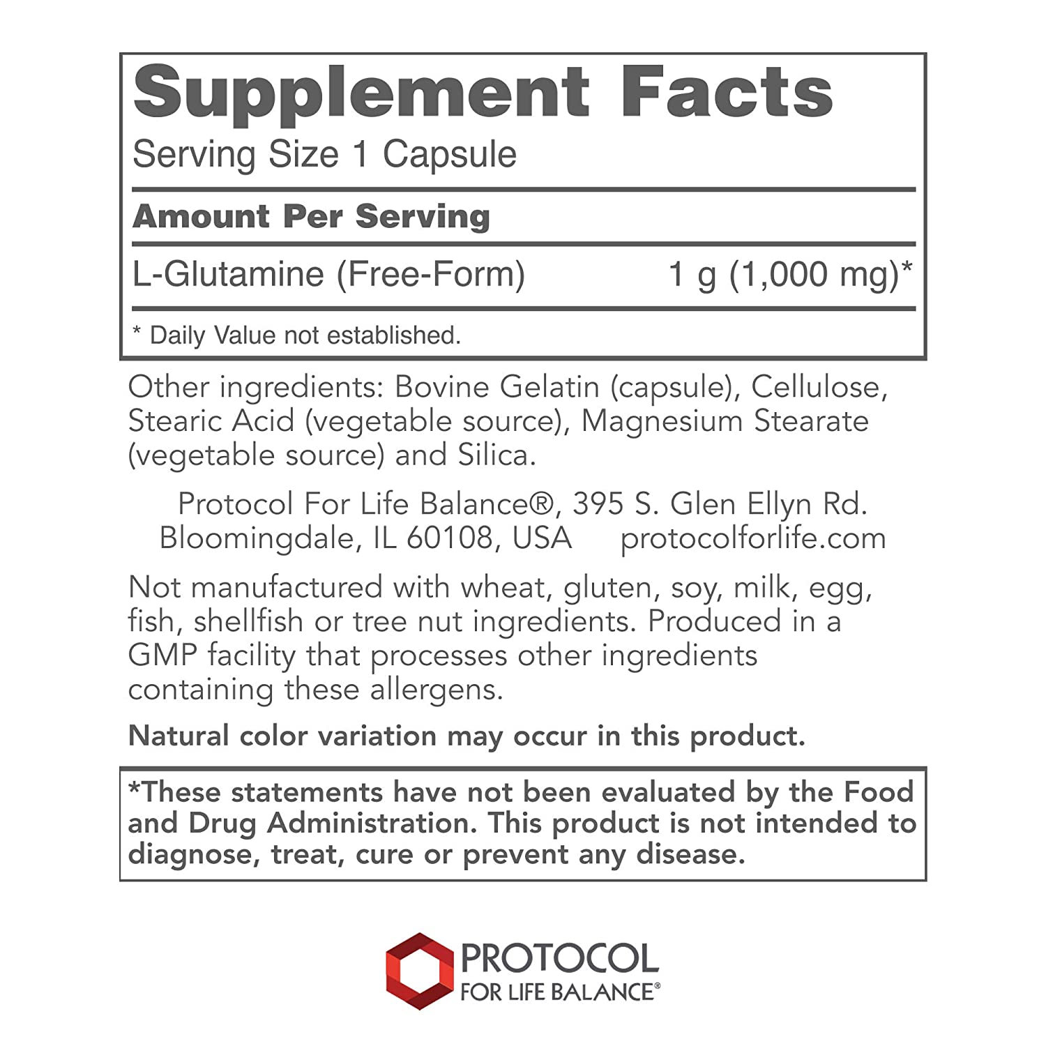 Protocol For Life Balance – L-Glutamine 1000 mg – Supports a Healthy Immune System and Gastro-Intestinal Health while Aiding Exercise Recovery – 120 Capsules
