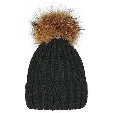 Melesh Women s Winter Large Detachable Fur Pom Pom Knit Beanie Hat (Black) f8a6edfff577