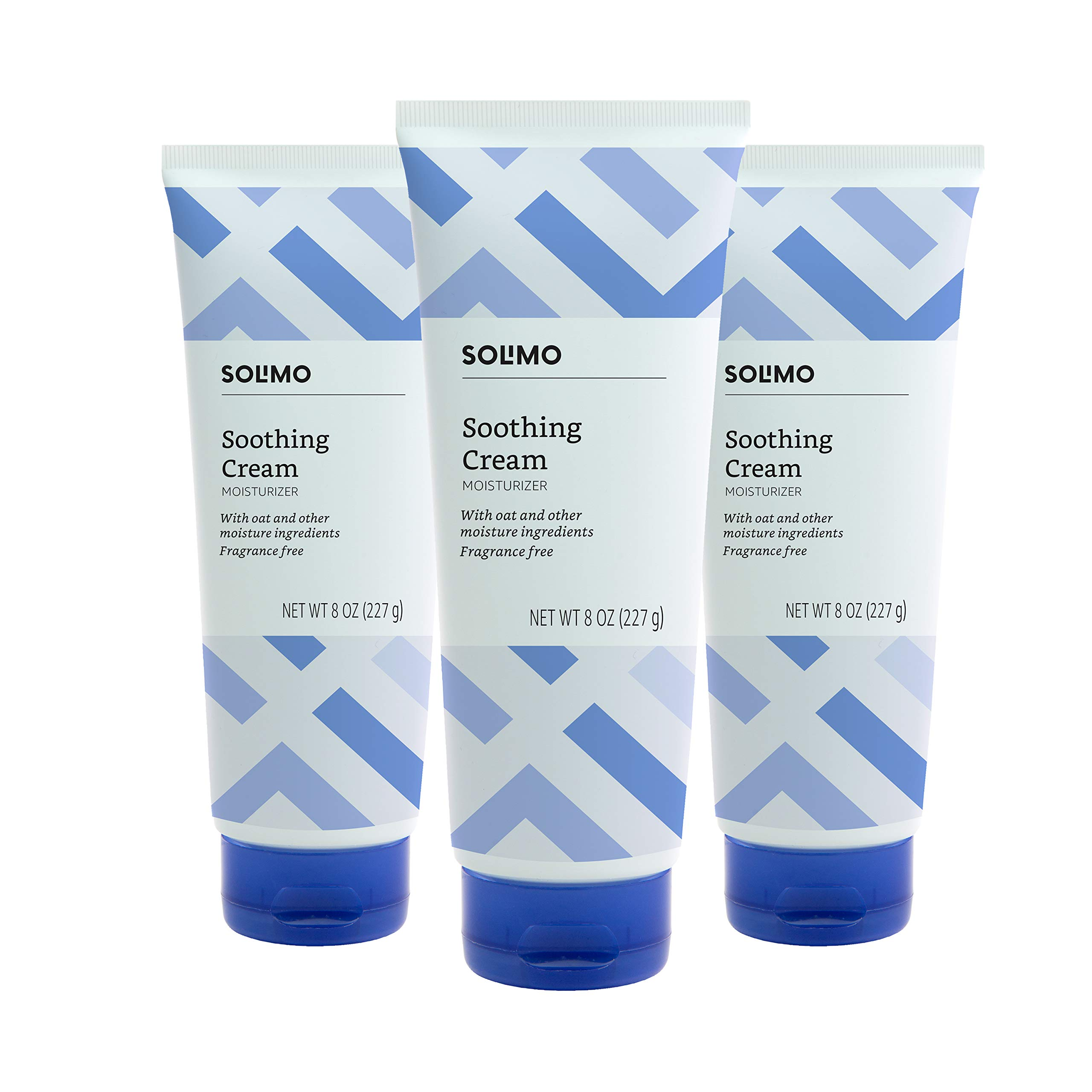 Amazon Brand - Solimo Soothing Cream Moisturizer with Oat, Fragrance Free, 8 Ounce (Pack of 3)