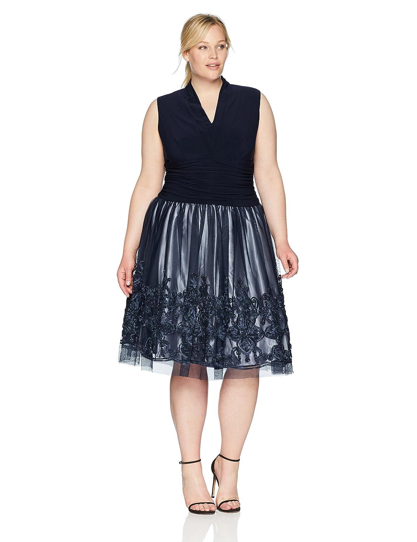 fd8806c60d98 S.L. Fashions Women s Plus Size Tea Length Tuck Neck Fit and Flare Dress
