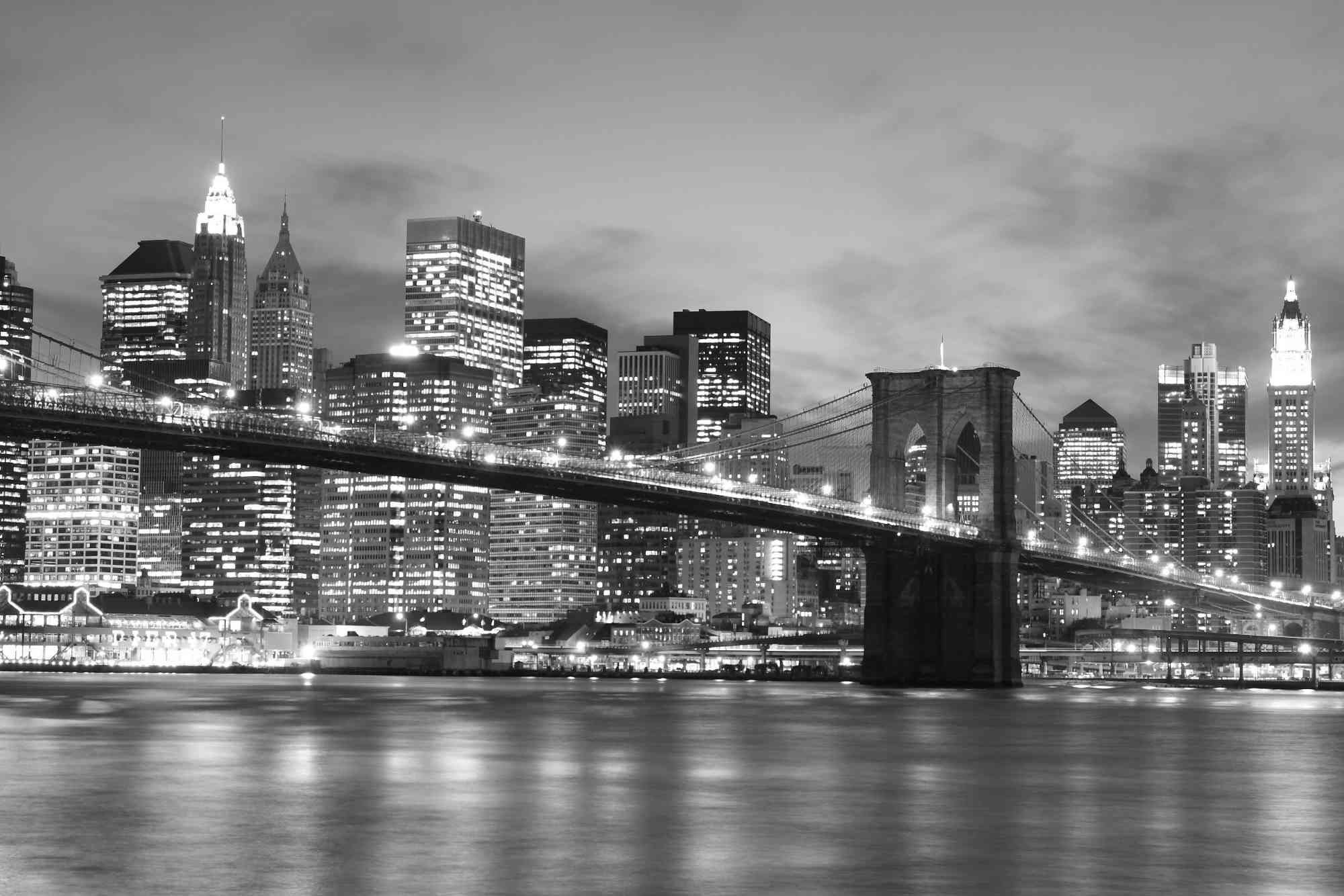 13.5-Feet wide by 9-Feet high. Prepasted wallpaper from a high resolution photo of: Brooklyn Bridge at Night (Black and White). Easy to hang remove and reuse (hang again) If U do as in our video