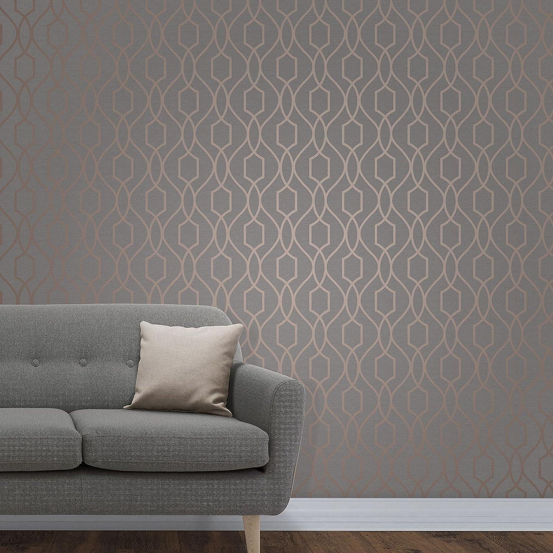 Fine Decor Fd Uk Apex Trellis Sidewall Wallpaper Copper Charcoal
