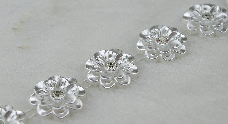 LZ112 AEAOA 5 Yards 20mm Ivory Flower Pearl Rhinestone Chain Sew On Trims Wedding Dress Decoration