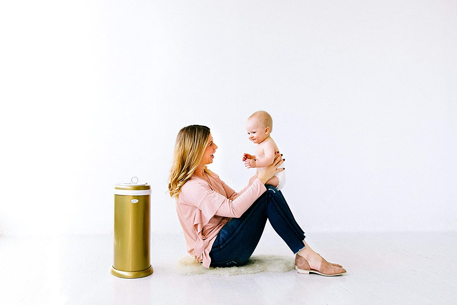 Ubbi Money Saving No Special Bag Required Metallic Gold Nappy Disposal Bin Steel Odor Locking Nappy Pail