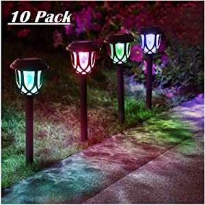 10 Pack Color Changing Solar Lights Outdoor Decorative, Solar Pathway Lights, Solar Powered Garden Yard Lights for Christmas Walkway Sidewalk Driveway.