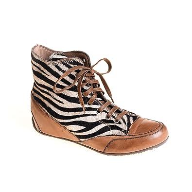 Candice Cooper Damen Sneaker High Leder Braun Fellbesatz