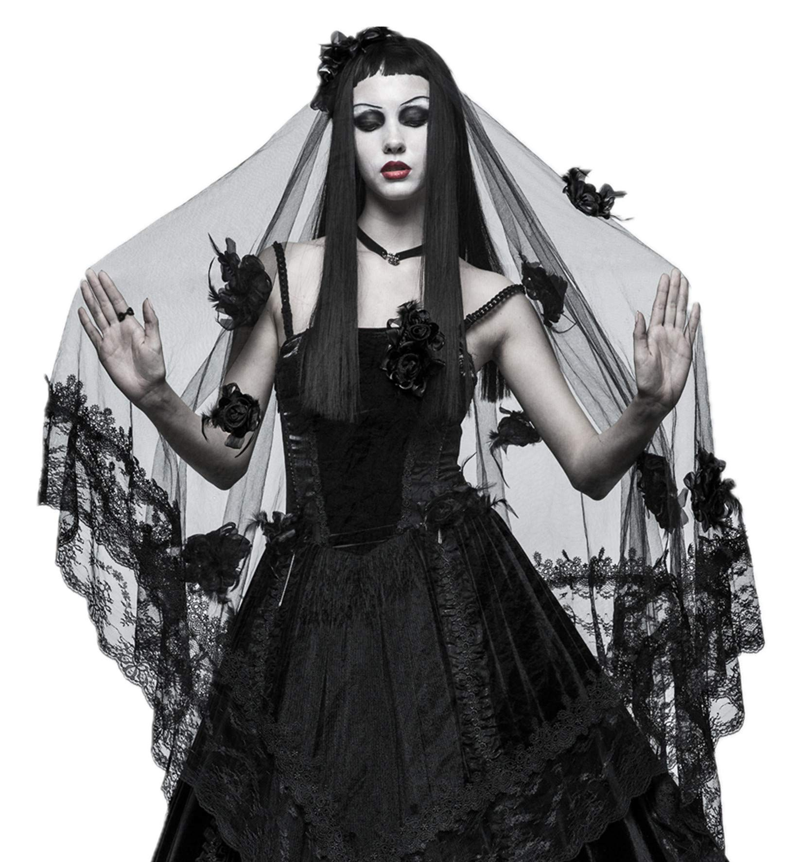 Punk Rave Women Black Gothic Witch Bridal Wedding Lace Mesh Veil Hair Accessory (One Size)