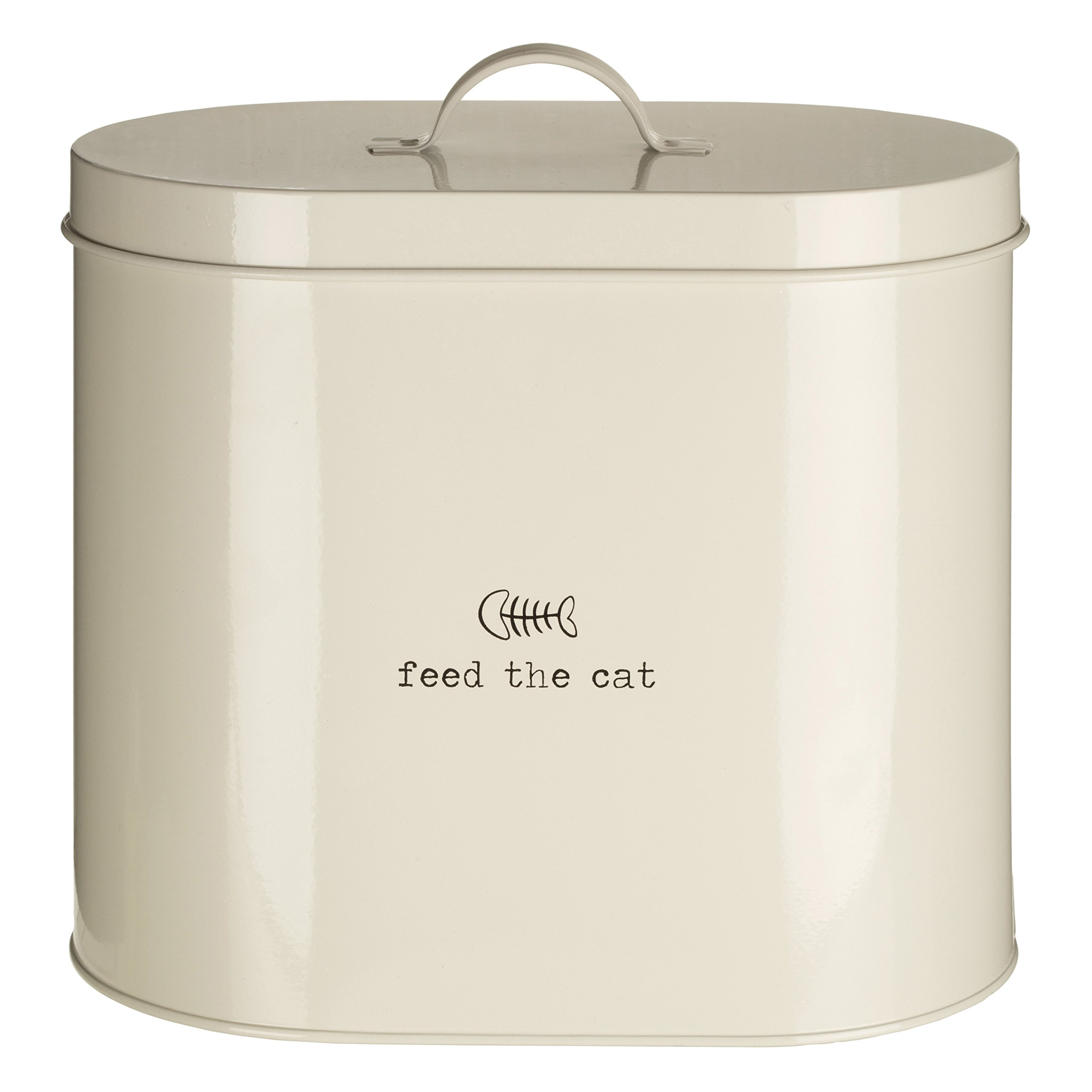 Premier Housewares Adore Pets Feed The Cat Food Storage Bin with Spoon, 6.5 L - Cream