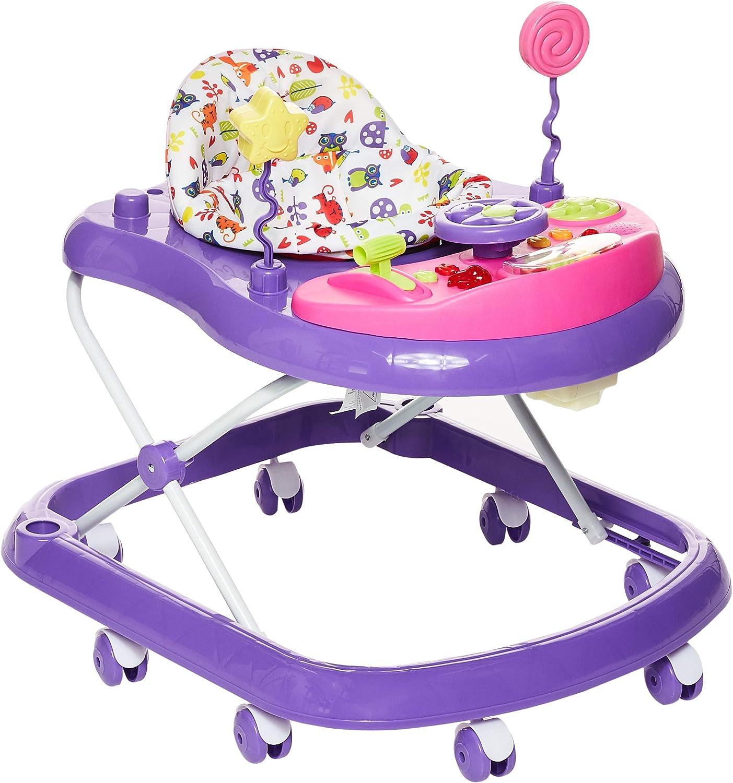 مشاية بـ 8 عجلات للأطفال من بيبي بلس باللون الارجواني والزهري