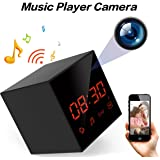 LIZVIE WiFi Hidden Spy Clock Portable Cam for home&office,Music player with Wireless Speaker,FM Radio,100% Invisible Lens,Night Vision,Motion Activated,Loop Record,1080P Video,Free APP(Pro Version)