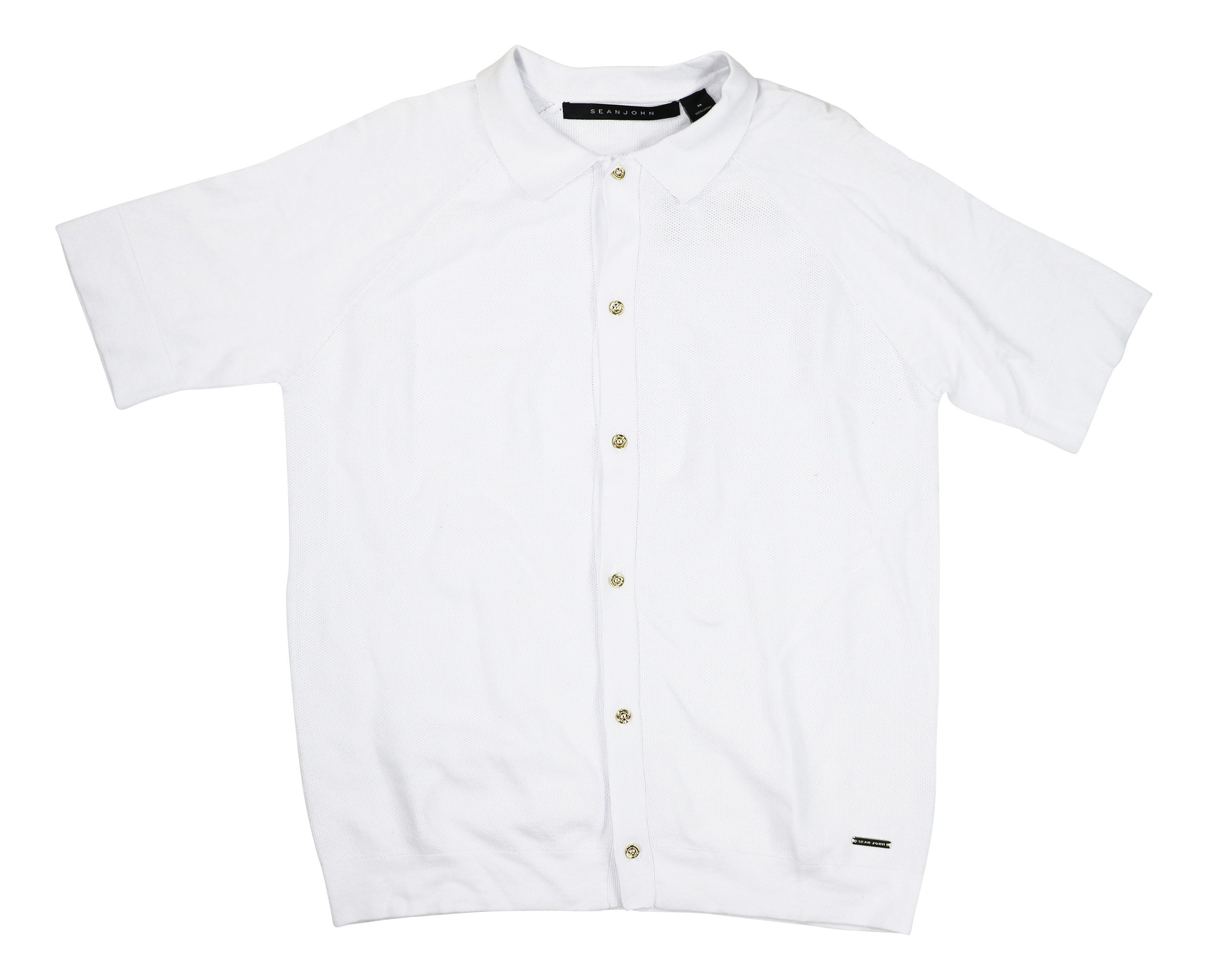 Sean John Mens Short-Sleeve Button-Front Cotton Sweater Bright White 3XL by Sean John