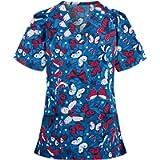 Hemlock Women Short Sleeve Tops Floral Print T Shirt V Neck Work Blouse Graphic Working Uniforms Plus Size Tops T Shirt