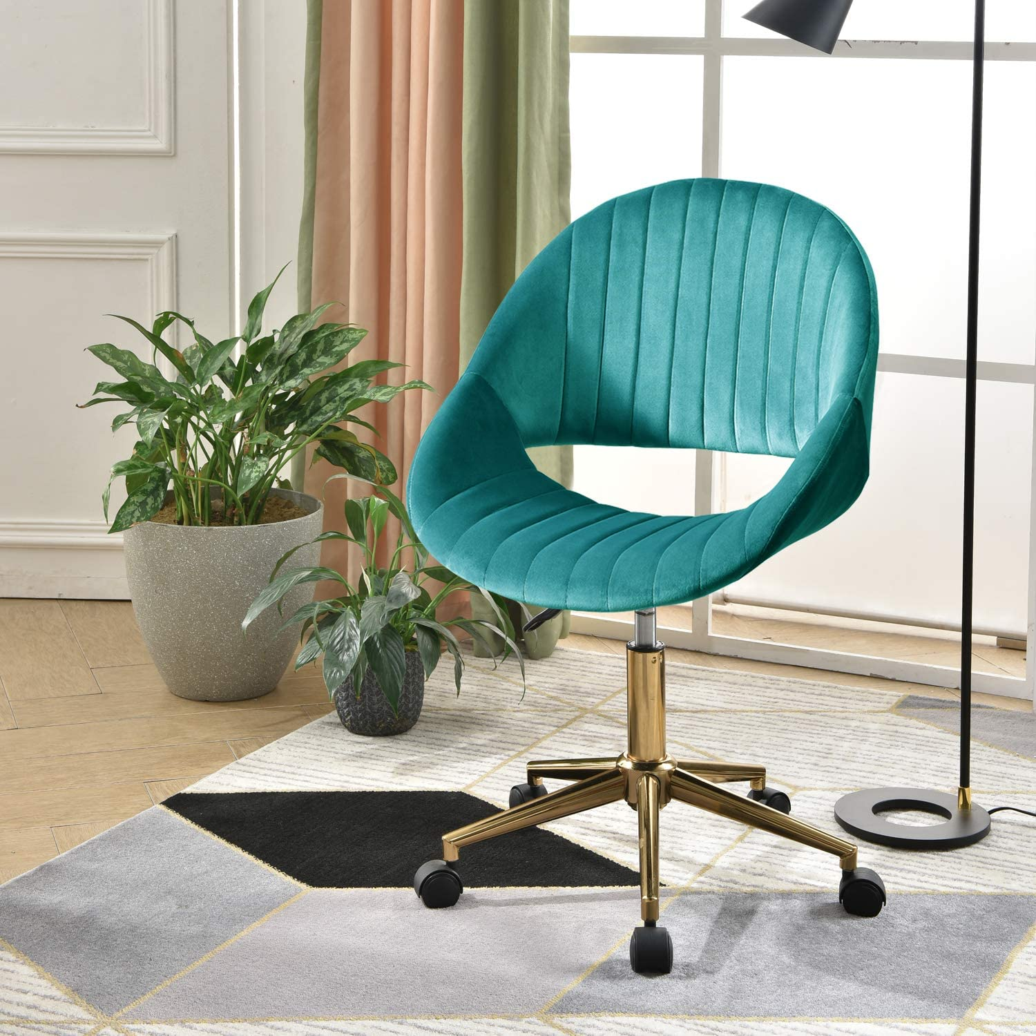XIZZI Cute Desk Chair,Adjustable Swivel Office Chair for Girl, Velvet Chair with Wheels (Malachite Green-Golden Frame)