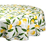 """DII Round Cotton Tablecloth for Autumn, Thanksgiving, Catering Events, Dinner Parties, Special Occasions or Everyday Use - 70"""" Round, Lemon Bliss"""