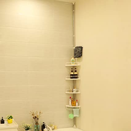 Songmics 120-300 cm Etagère d\'angle télescopique salle de bains avec 4  tablettes et crochets BCB002
