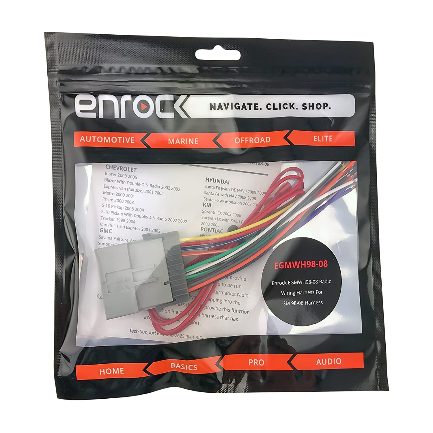 Enrock Wiring Harness For Connection Of A Stereo Chevrolet Blazer Select Gm Pontiac And Toyota Vehicles 2000 2008 Car Electronics
