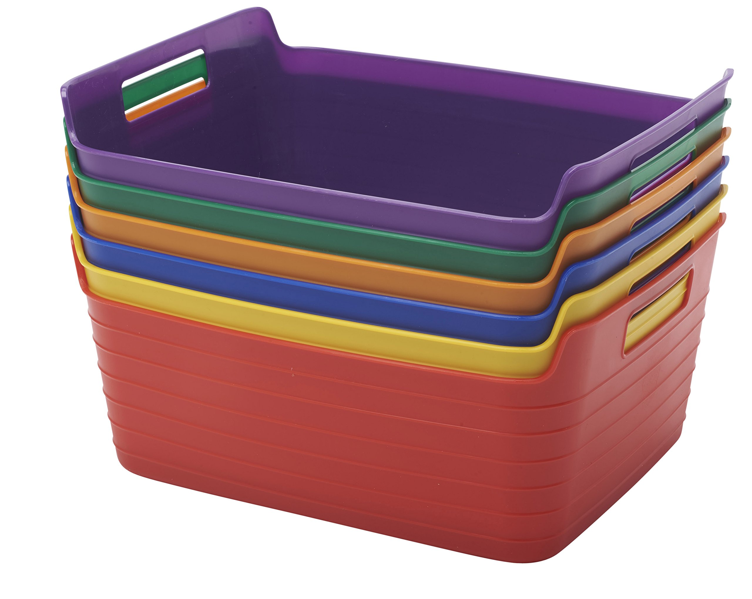 ECR4Kids Assorted Large Bendi-Bins with Handles,Stackable Plastic Storage Bins for Toys and More, Assorted Colors (6-Pack)