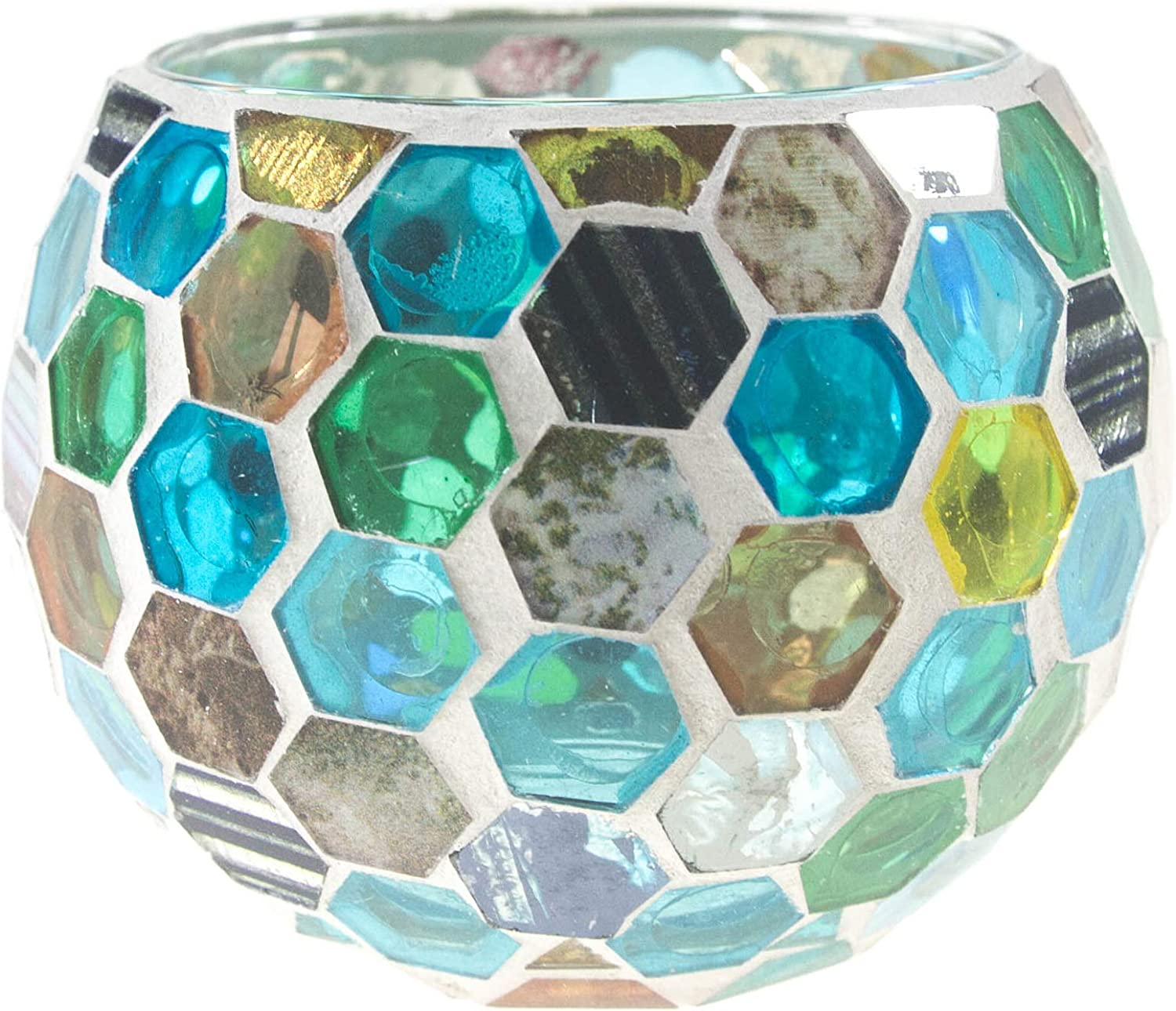 Frespersy Candle Holders Mosaic Glass Jars Votive Tealight Candleholders for Holidays, Weddings, Parties Home Decor Thanksgiving Gifts (Flashing Ball)
