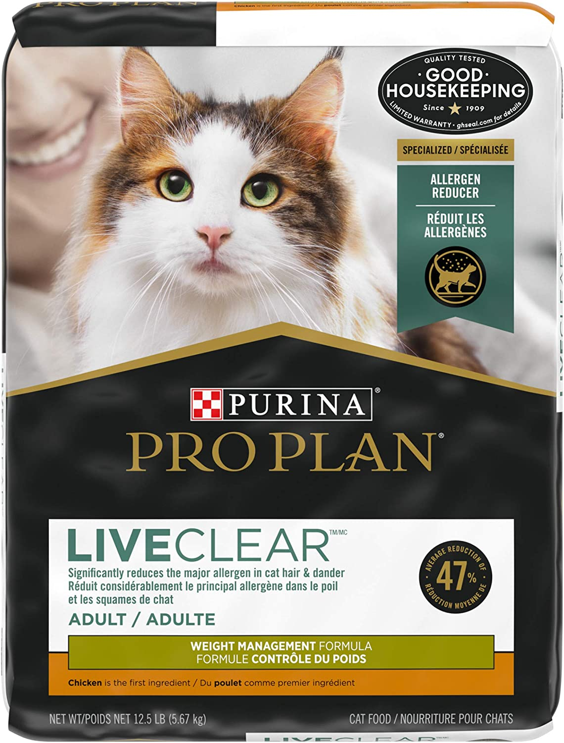 Purina Pro Plan LIVECLEAR Adult Weight Management Formula Dry Cat Food - 12.5 lb. Bag