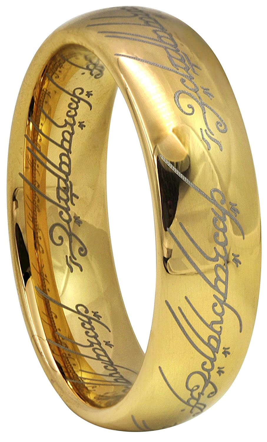 Crownal 6mm Gold Lord Of The Rings Tungsten Carbide Comfort Fit Size 4 To 16