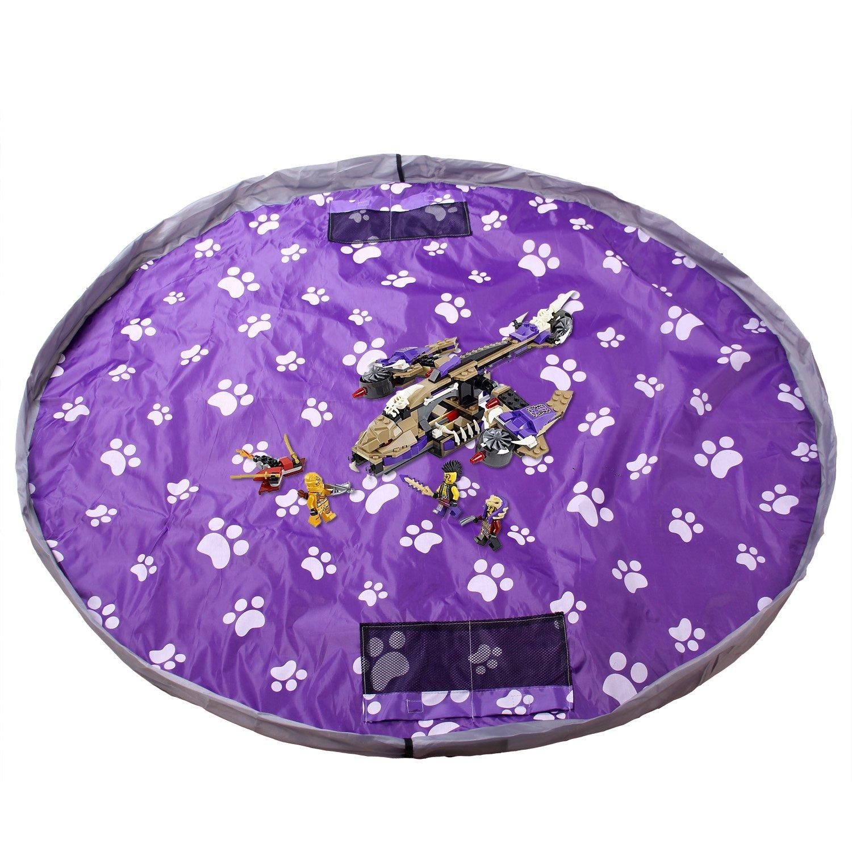 TUKA hidrófugo 145 cm Estera del juego y juguetes almacenamiento bolsa, XL alfombra, niños jugar Mat. Rápidamente limpieza organizador del almacenaje, portátil al aire libre manta actividades alfombra, púrpura, TKD4007 purple TUKAI