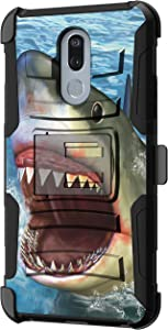 TurtleArmor | Compatible with LG Stylo 5 Case | LG Stylo 5 Plus Case | LG Stylus 5 Case [Hyper Shock] Hybrid Reinforced Dual Layer Case Belt Clip Holster Stand Sea Ocean - Shark Attack