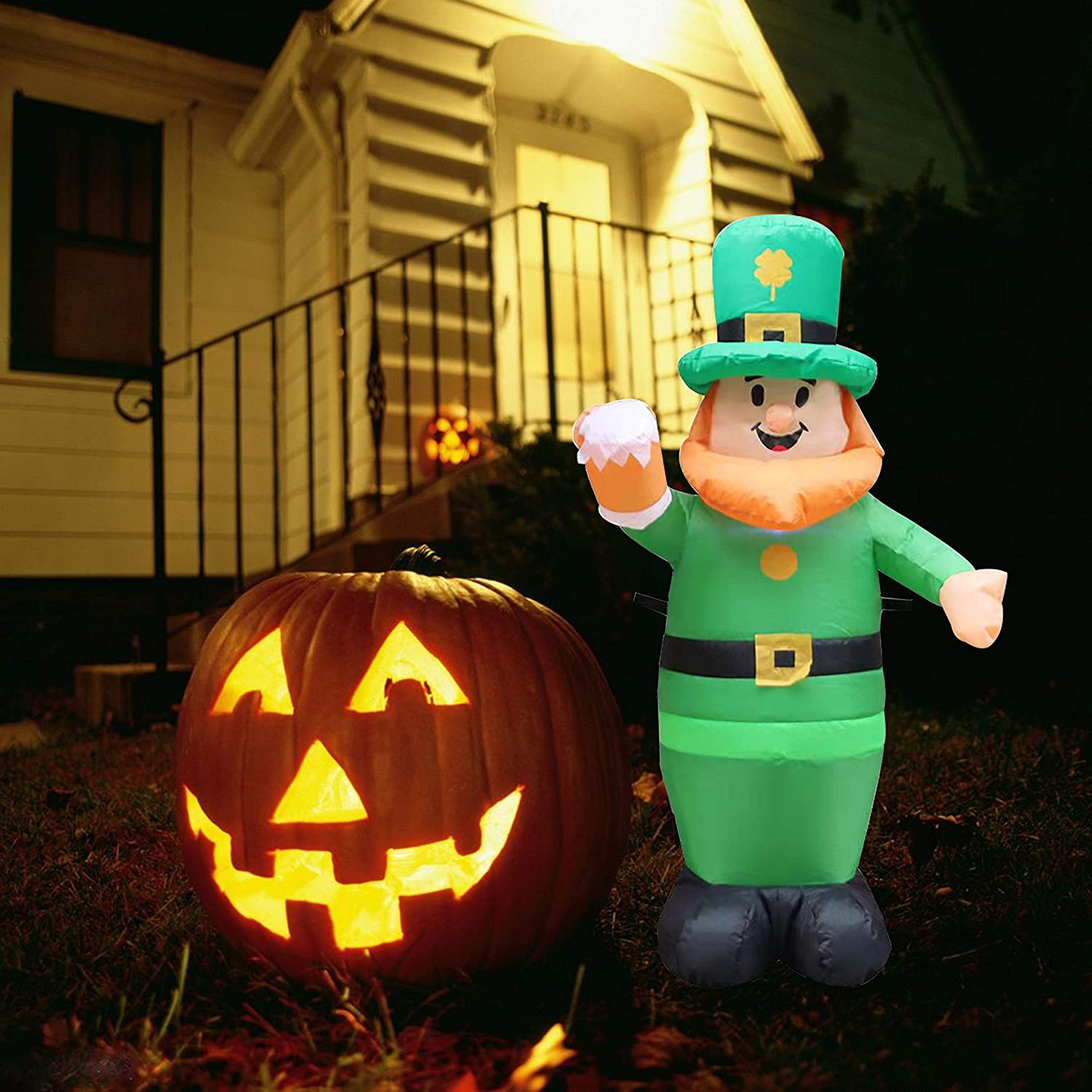 Glzifom 3.3 FT Lighted St Patricks Day Inflatables, Leprechaun Inflatable with Stake, Waterproof Blow up Leprechaun for Outdoor Lawn Yard Holiday Decoration