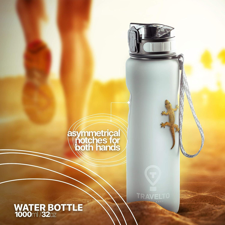 1 Liter 100/% Tritan Leakproof Sports Bottle Flip Top Leak Proof Lid 1000ml One Click Open Fitness BPA Free TRAVELTO Water Bottle 32oz Workout FDA Approved for Travel Gym Hiking