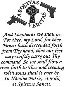 Hat Shark Vinyl Print Poster - 18x24 The Family Prayer Aequitas Veritas Saints Gun Celtic Cross