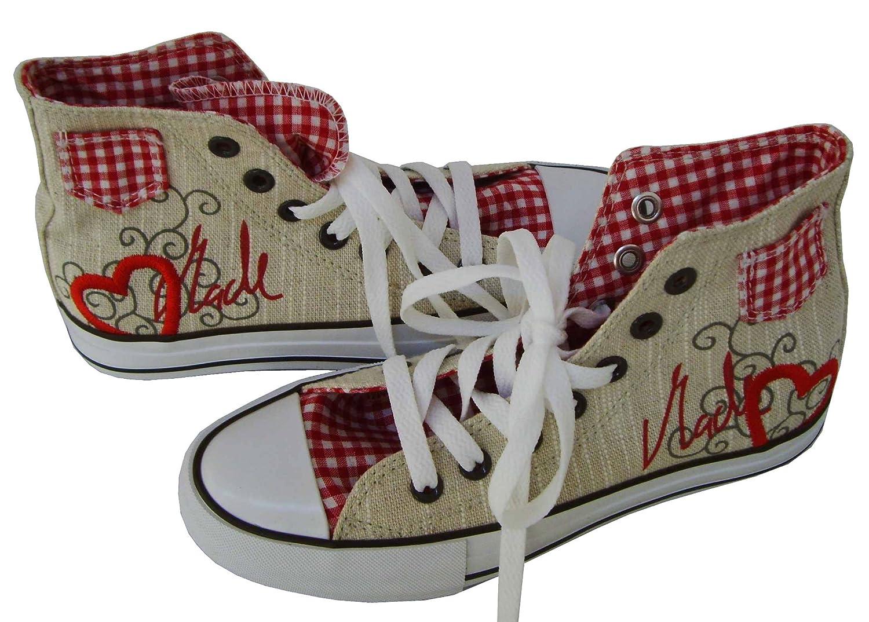 Tolle Damen Trachtenschuhe Sneaker in Natur Natur in aus Leinen von Krüger Madl Gr:-41 EU Farbe:-Beige - db9320