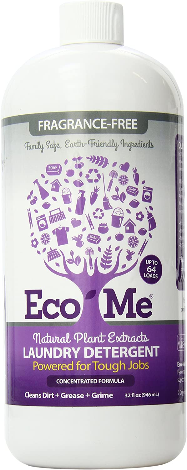 Eco-Me Laundry Natural Detergent, Organic Concentrated Liquid Detergent, Fragrance Free, 32 Ounce