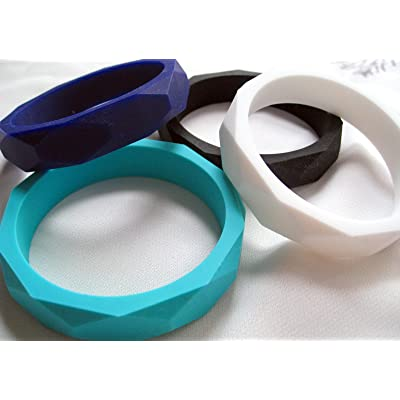 A L L U R E silicone teething bangle set of 4 BPA free FDA compliant food grade silicone : Baby