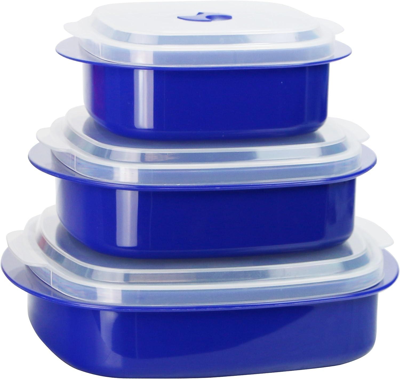 Calypso Basics by Reston Lloyd 6-Piece Microwave Cookware, Steamer and Storage Set, Indigo Blue