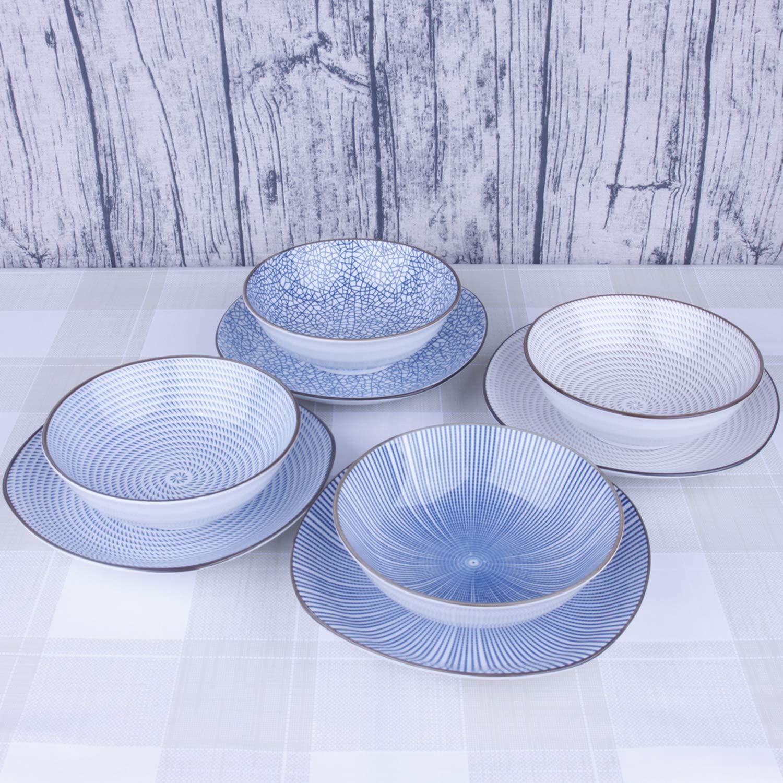 Plates Sets 4pcs//Pack Quadrangle Round Tapas Plates Ceramic Plates Cereal Plates Dessert Plate 8 Inches Four Patterns Porcelain Dinnerware