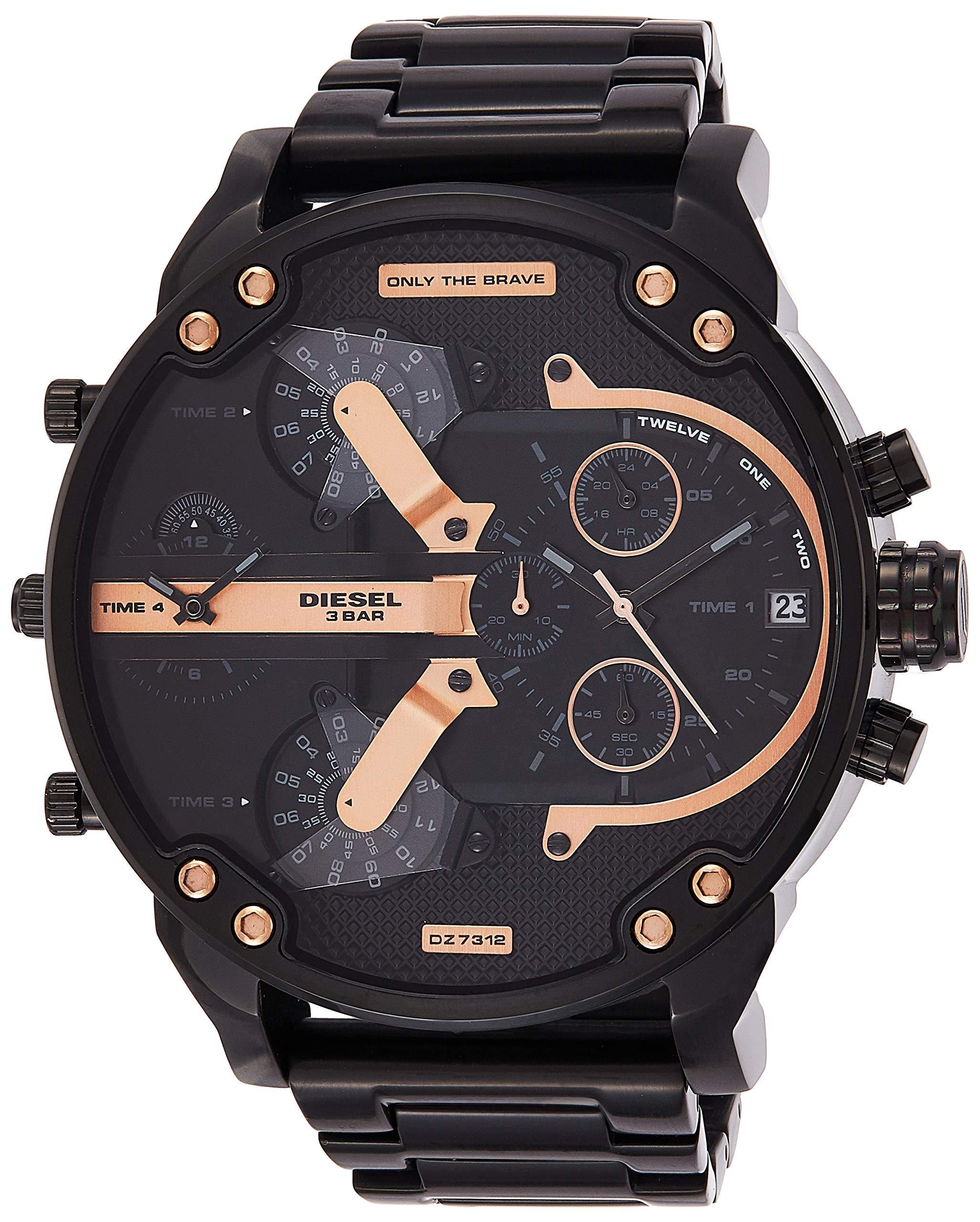Diesel Men's Mr Daddy 2.0 Quartz Stainless Steel Chronograph Watch, Color: Black (Model: DZ7312) by Diesel