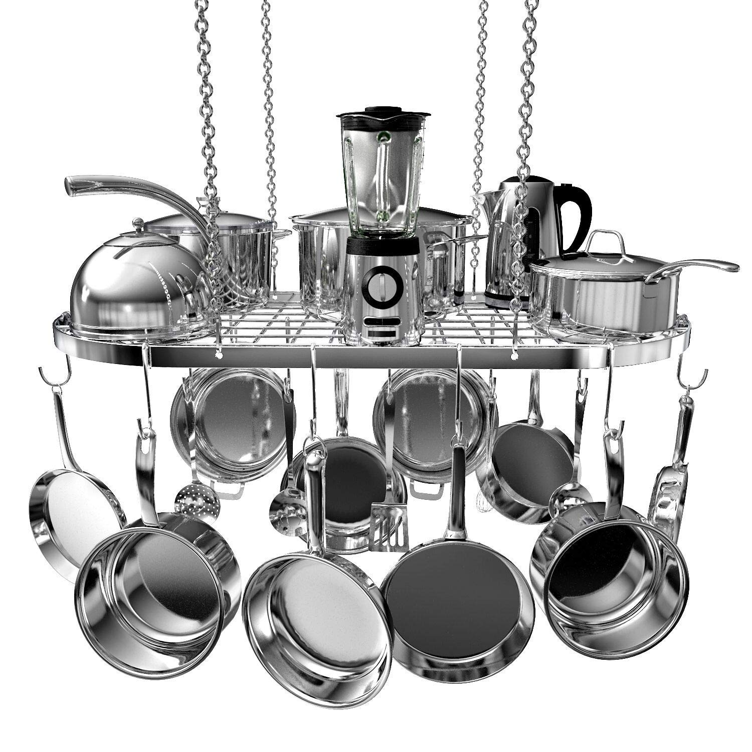 Buy One Get Five FREE- SKATCO Pot Organizer Rack -All Pots & Pans Are Included FREE - Pots & Pans Organizer - Heavy Duty Lids, Dishes, Pots and Pans Organizer - Pan Rack with 3 Use Methods