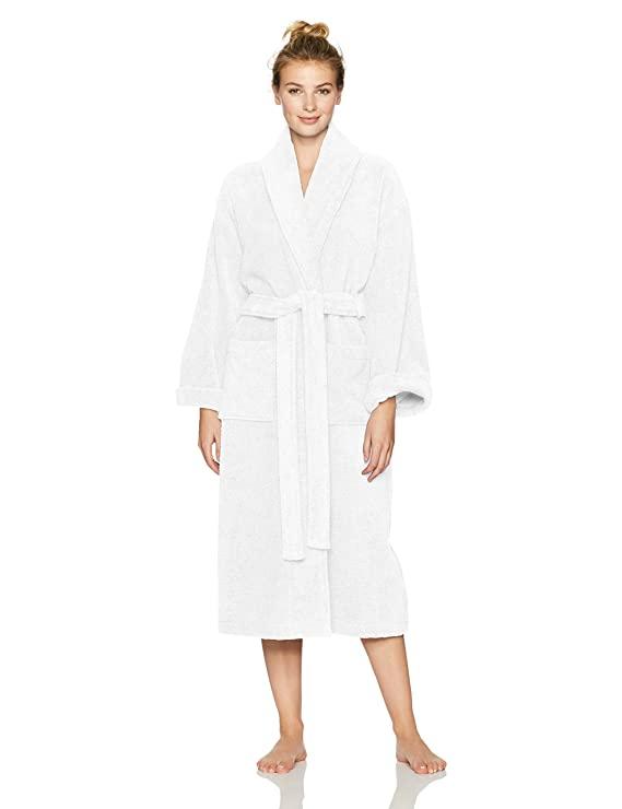 Pinzon Terry Bathrobe 100% Cotton, White, Medium / Large best women's bathrobes