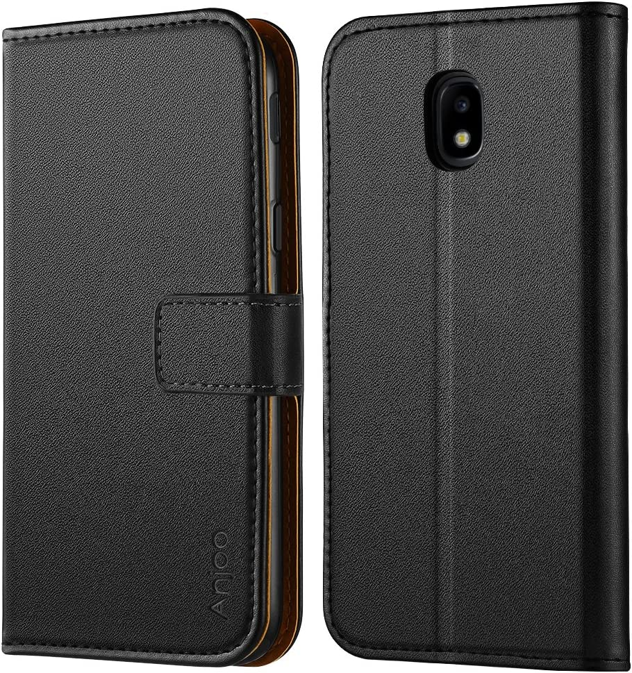 Anjoo Coque Compatible pour Samsung Galaxy J3 2017, Housse en Cuir avec Magnetique Premium Flip Case Portefeuille Etui Compatible pour Samsung J3 ...