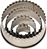 Ateco 1441 Fluted Edge Round Cutters in Graduated Sizes, Stainless Steel, 4 Pc Set