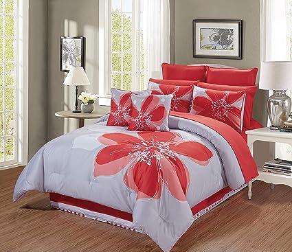 Amazoncom 12 Piece Coral Orange Grey White Hibiscus Floral Bed